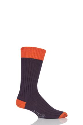 Mens 1 Pair Corgi Heavyweight 100% Cotton Ribbed Socks with Contrast Heel, Toe and Welt