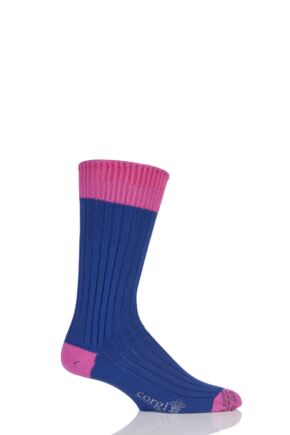Mens 1 Pair Corgi Heavyweight 100% Cotton Ribbed Socks with Contrast Heel, Toe and Welt Deep Purple / Pink 11-12