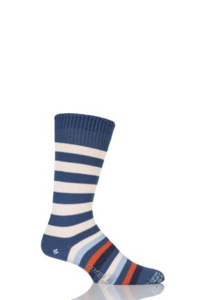 Mens 1 Pair Corgi 100% Cotton Half Striped Socks