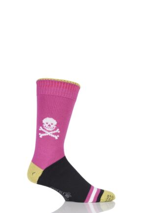 Mens 1 Pair Corgi Heavyweight 100% Cotton Skull Socks with Contrast Heel, Toe and Tipping Pink 6-7