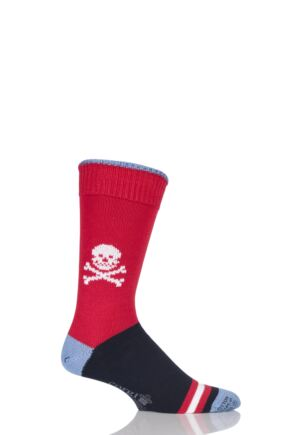 Mens 1 Pair Corgi Heavyweight 100% Cotton Skull Socks with Contrast Heel, Toe and Tipping Red 7.5-9