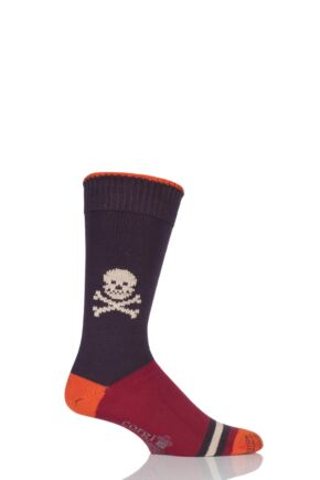 Mens 1 Pair Corgi Heavyweight 100% Cotton Skull Socks with Contrast Heel, Toe and Tipping Rust 6-7