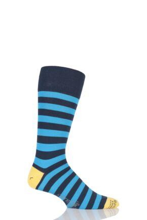 Mens 1 Pair Corgi Lightweight Cotton Two Tone Block Striped Socks Blue 7.5-9