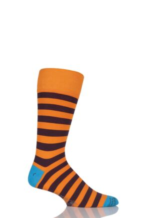 Mens 1 Pair Corgi Lightweight Cotton Two Tone Block Striped Socks Orange 6-7