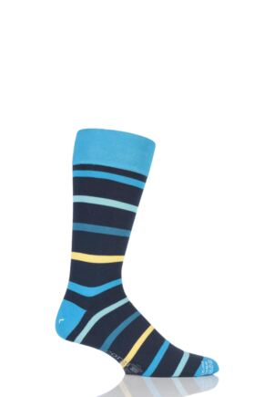 Mens 1 Pair Corgi Lightweight Cotton Striped Socks Blue 6-7