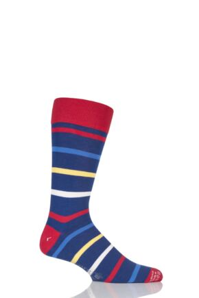 Mens 1 Pair Corgi Lightweight Cotton Striped Socks Red 7.5-9