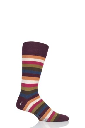 Mens 1 Pair Corgi Classic Multi Stripe Lightweight Cotton Socks Port 9.5-10.5 Mens