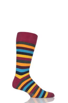 Mens 1 Pair Corgi Lightweight Cotton Block Striped Socks Wine 7.5-9