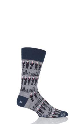 Mens 1 Pair Corgi City Gent Fine Cotton Socks Grey 11-12