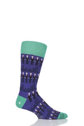 Mens 1 Pair Corgi City Gent Fine Cotton Socks Purple 7.5-9