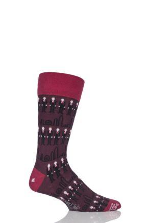 Mens 1 Pair Corgi City Gent Fine Cotton Socks Wine 6-7