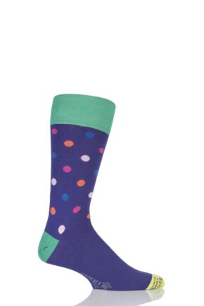 Mens 1 Pair Corgi Lightweight Cotton Multi Spotty Socks Purple 9.5-10