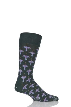 Mens 1 Pair Corgi Lightweight Cotton Flying Ducks Socks Green 9.5-10