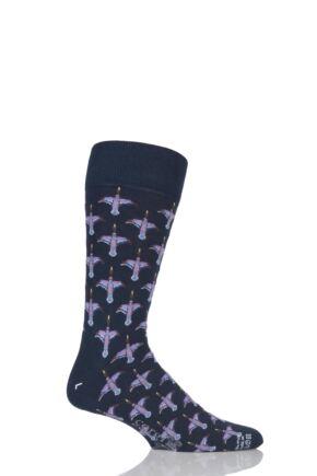 Mens 1 Pair Corgi Lightweight Cotton Flying Ducks Socks Navy 7.5-9