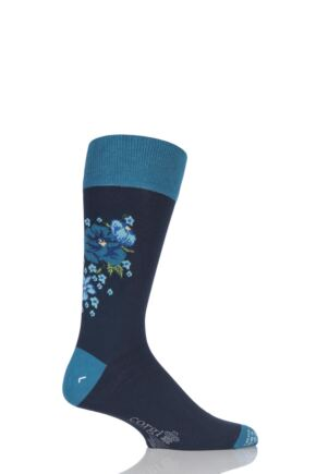 Mens 1 Pair Corgi Lightweight Cotton Floral Socks Navy / Teal 7.5-9
