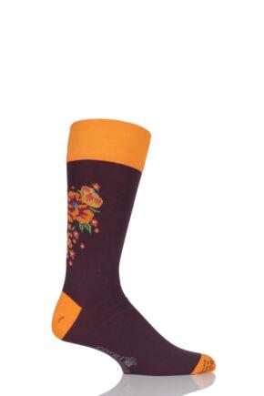 Mens 1 Pair Corgi Lightweight Cotton Floral Socks Burgundy / Orange 7.5-9