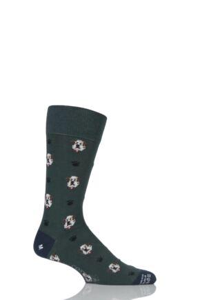 Mens 1 Pair Corgi Lightweight Cotton British Bulldog Socks Green 9.5-10