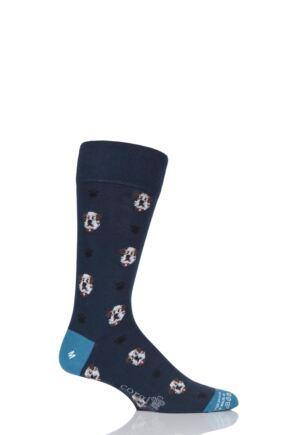 Mens 1 Pair Corgi Lightweight Cotton British Bulldog Socks Navy 11-12