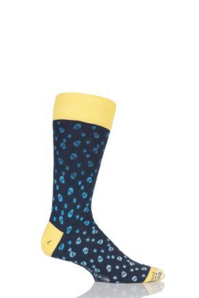 Mens 1 Pair Corgi Lightweight Cotton Skull and Star Patterned Socks