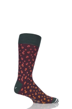 Mens 1 Pair Corgi Lightweight Cotton Skull and Star Patterned Socks Burgundy 6-7