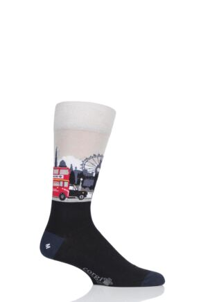 Mens 1 Pair Corgi Best of British London Lightweight Cotton Socks Navy 11-12 Mens