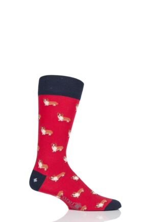 Mens 1 Pair Corgi Best of British Corgi Lightweight Cotton Socks Red 7.5-9 Mens