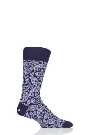 Mens 1 Pair Corgi Classic All Over Paisley Lightweight Cotton Socks Purple 11-12 Mens