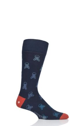 Mens 1 Pair Corgi Skull and Crossbones Lightweight Cotton Socks