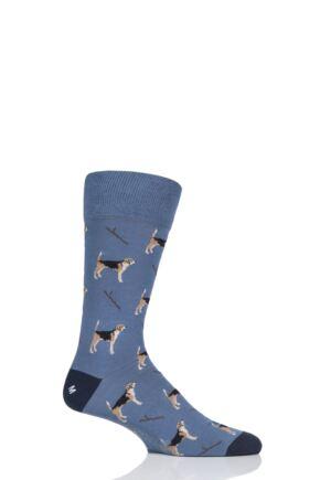 Mens 1 Pair Corgi Beagle Dog Lightweight Cotton Socks Slate 11-12 Mens