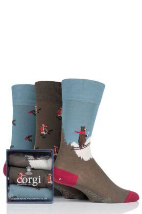 Mens and Ladies 3 Pair Corgi Skiing Bear Holly and Robins Christmas Gift Boxed Socks