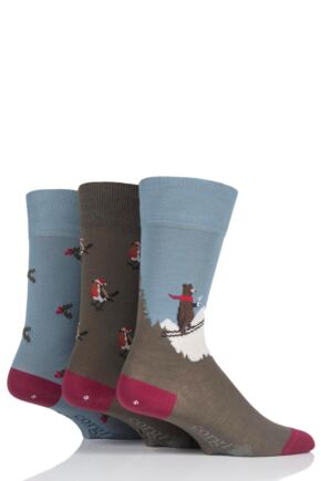 Mens and Ladies 3 Pair Corgi Skiing Bear Holly and Robins Christmas Gift Boxed Socks