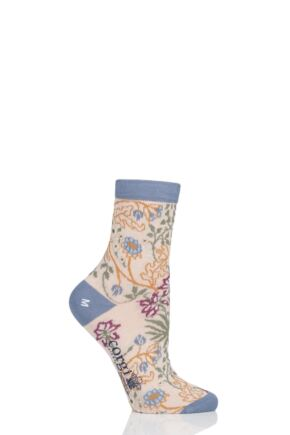 Ladies 1 Pair Corgi Floral Lightweight Cotton Socks Cream 7.5-9 Ladies