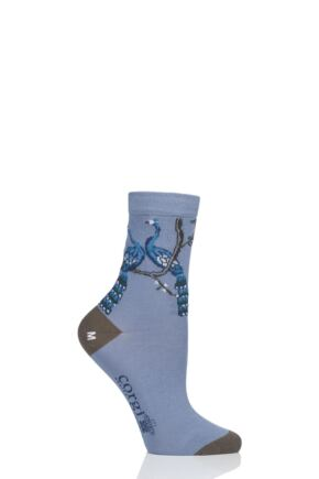Ladies 1 Pair Corgi Peacock Lightweight Cotton Socks