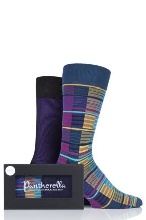 Mens 2 Pair Pantherella Stripe and Shadow Bright Cotton Gift Box