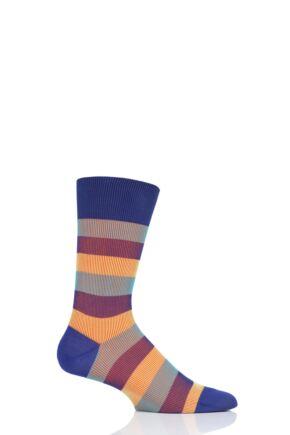 Mens 1 Pair Pantherella Stirling Shadow Rib Stripe Cotton Socks Purple 7.5-9.5 Mens