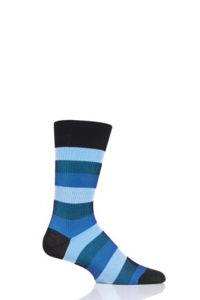 Mens 1 Pair Pantherella Stirling Shadow Rib Stripe Cotton Socks