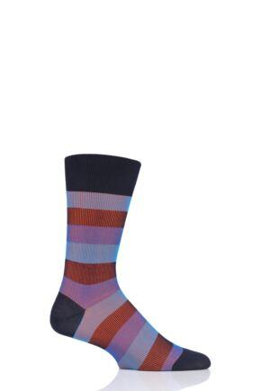 Mens 1 Pair Pantherella Stirling Shadow Rib Stripe Cotton Socks
