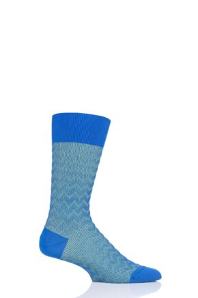 Mens 1 Pair Pantherella Corbusier Shadow Rib Zig Zag Cotton Socks