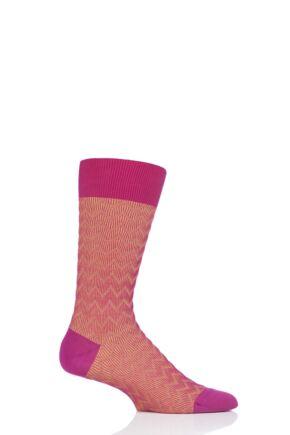 Mens 1 Pair Pantherella Corbusier Shadow Rib Zig Zag Cotton Socks