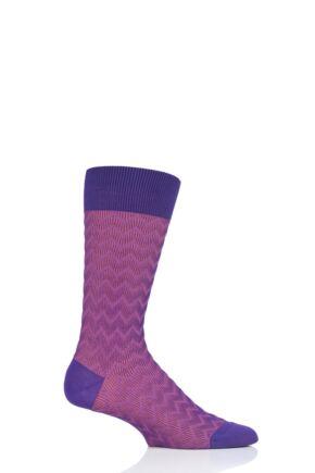 Mens 1 Pair Pantherella Corbusier Shadow Rib Zig Zag Cotton Socks Crocus 7.5-9.5 Mens