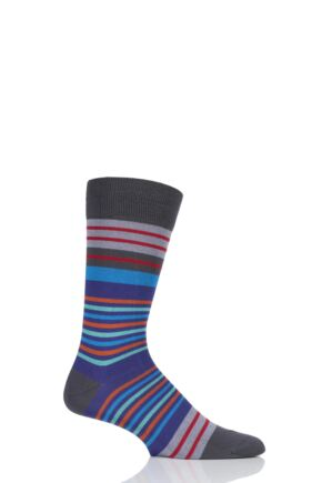 Mens 1 Pair Pantherella Swift Multi Stripe Cotton Socks Dark Grey 7.5-9.5 Mens
