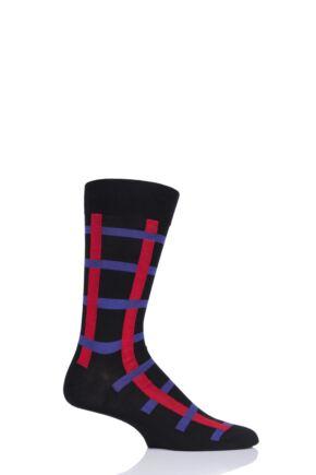 Mens 1 Pair Pantherella Halston Windowpane Cotton Socks