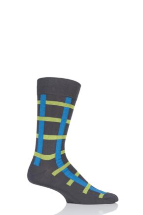 Mens 1 Pair Pantherella Halston Windowpane Cotton Socks