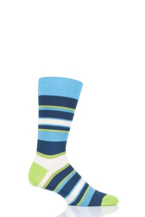 Mens 1 Pair Pantherella Eames Multi Block Stripe Cotton Socks
