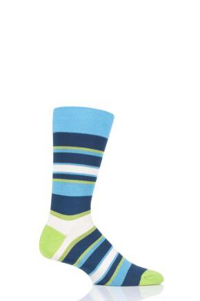 Mens 1 Pair Pantherella Eames Multi Block Stripe Cotton Socks