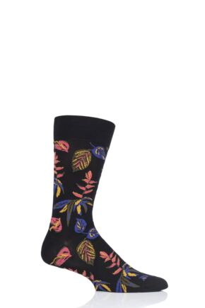 Mens 1 Pair Pantherella Tange Tropical Floral Cotton Socks