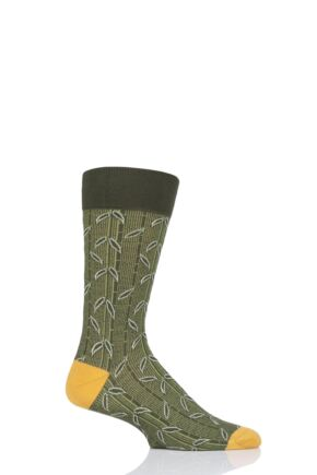 Mens 1 Pair Pantherella Takenoko Bamboo Design Cotton Socks