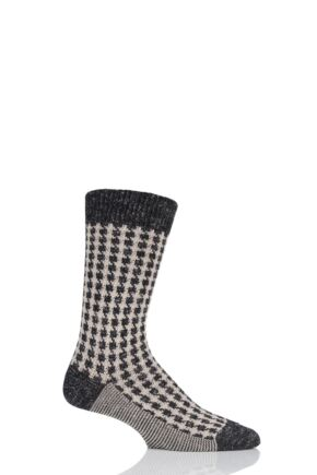 Mens 1 Pair Pantherella Hoyland Flatknit Houndstooth Cotton Cashmere Socks