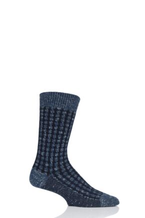 Mens 1 Pair Pantherella Hoyland Flatknit Houndstooth Cotton Cashmere Socks