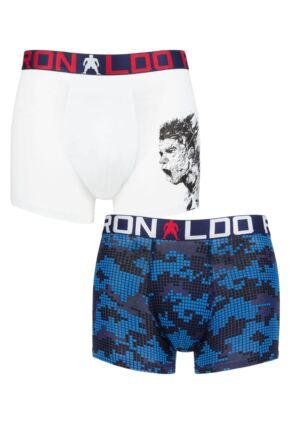 Boys 2 Pack CR7 Cotton Boxer Shorts